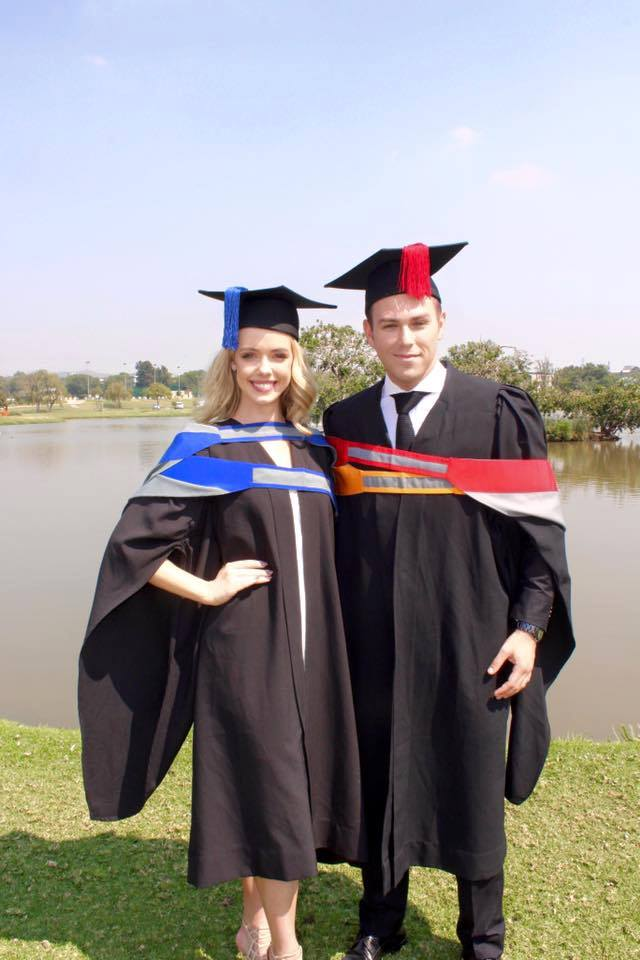 Both graduated today at the University of Pretoria.  Mr World - South Africa 2016 Armand Du Plessis with Miss South Africa 2016 2nd Princess Tayla Robinson.