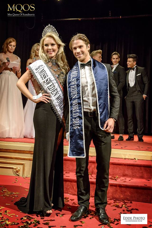 Miss World Sweden 2016 Emma Strandberg and Mr World Sweden 2016 Robin Mahler