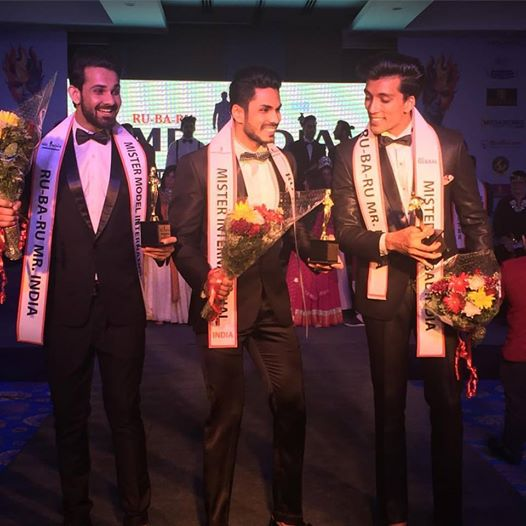 Top Indian fashion models and Rubaru Mister India 2016 titleholders. (From left to right) Anurag Fageriya, Mudit Malhotra and Prateek Baid.