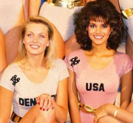 "Pia, Marcus´mother, placed 2nd in Miss World 1986. Halle Berry, who appears on the right as ""Miss USA"", placed 6th."