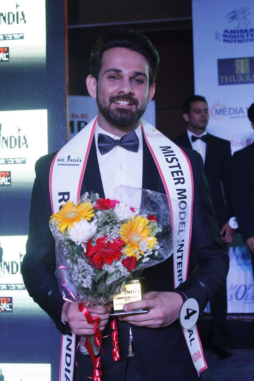 Anurag Fageriya after winning the title of Mister Model International India at the finale of Rubaru Mr India 2016 pageant.