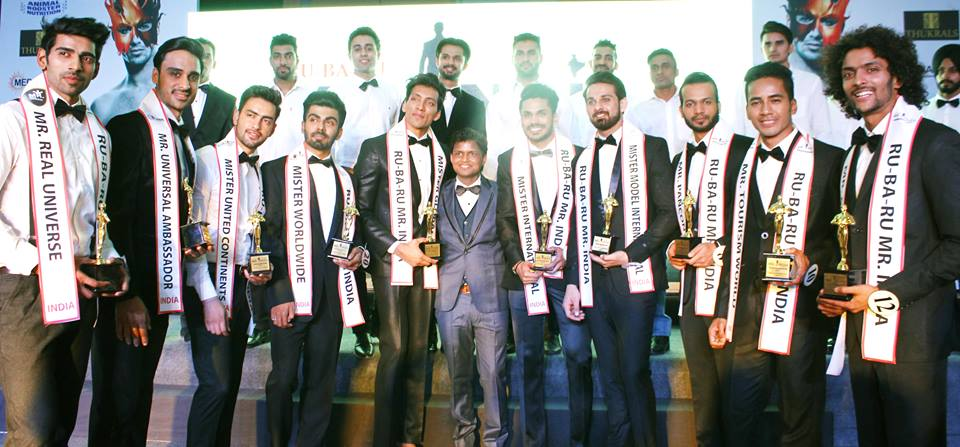 Sandeep Kumar with the winners of Rubaru Mister India 2016.