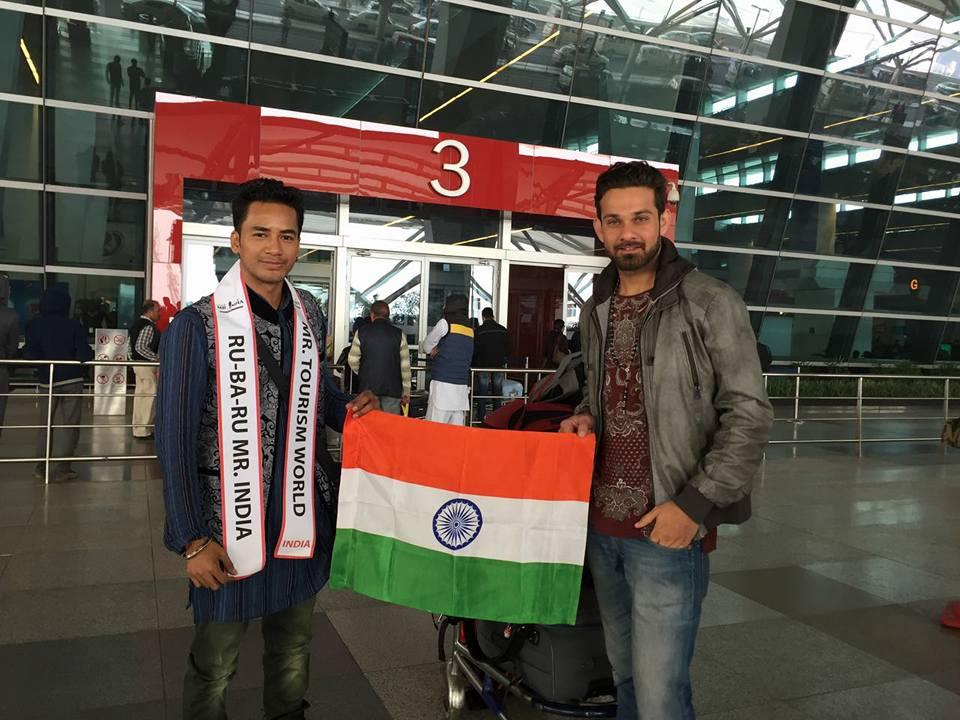 Sanju Eay with Anurag Fageriya at Indra Gandhi International Airport in New Delhi.