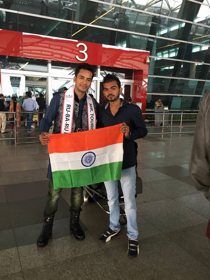 Sanju Ray with Photographer Ankit Joon at Indra Gandhi International Airport.