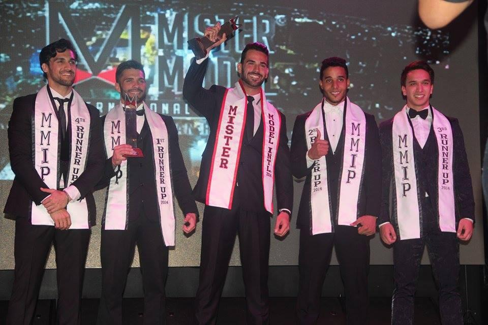 Mister Model International 2014 top 5 placers (L-R) Mr India (4th runner up), Mr Puerto Rico (1st runner up), Mr Fernando de Noronha (Winner), Mr Saona Island (2nd runner up) and Mr Philippines (3rd runner up).