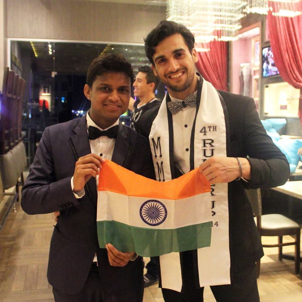 Pratik Virk with the president of Rubaru Mister India contest, Sandeep Kumar after being awarded with the fourth runner up title at Mister Model International Pageant 2014 held in Dominican Republic.