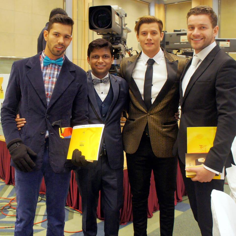 Sandeep Kumar with Mister Colombia, Mister Ecuador and Mister Ukraine in Seoul, South Korea