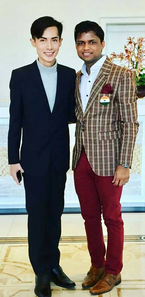 The founder and president of Mister International contest. Alan Sim (left) with the founder and president of Rubaru Group, the parent organization of Rubaruu Mister India contest, Sandeep Kumar (rigt).
