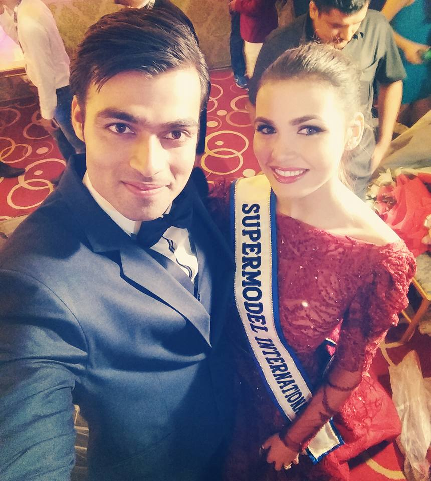 Srikant with the winner of Supermodel International 2017. He shared this picture on his official social media account.