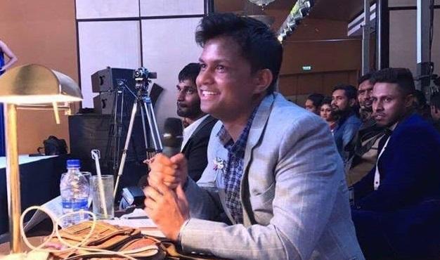 Sandeep Kumar while judging Ceylon Majestic Pageants (Mr and Miss Sri Lanka).