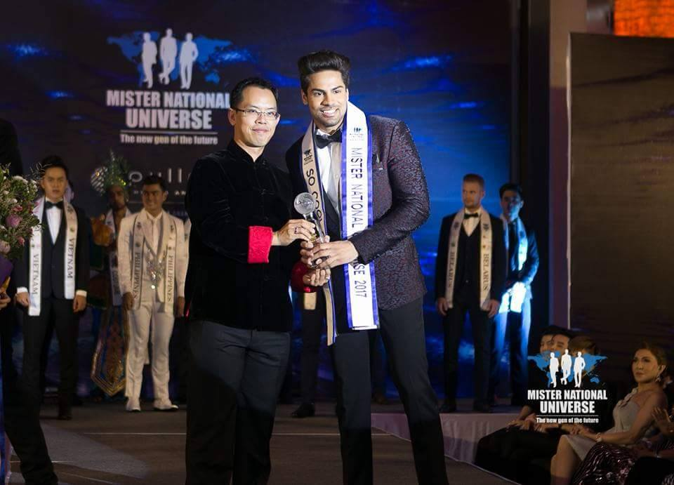Dr. Pankaj Ahlawat while receiving the So  Cool Guy Award at the grand finale of the contest in Thailand.