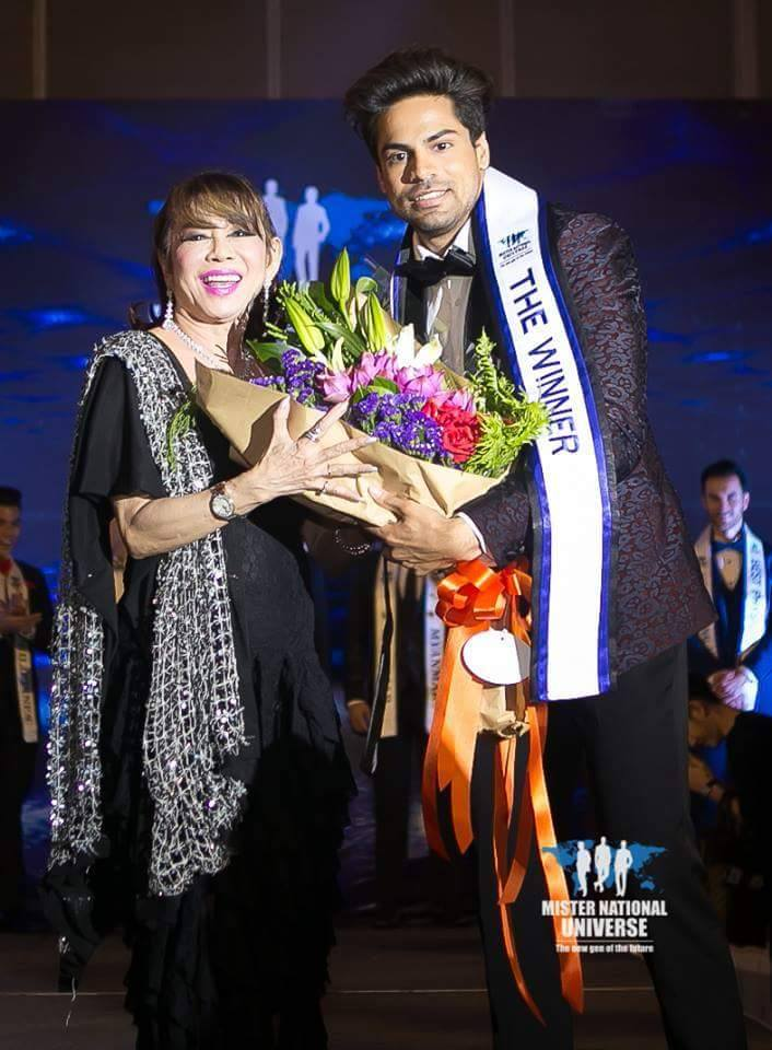 Dr. Pankaj Ahlawat's winning moment at Mister National Universe 2017 competition in Thailand.