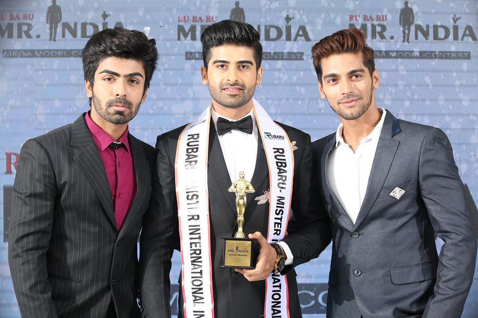 (Left to right) Akash Choudhary, Rubaru Mr India 2016; Darasing Khurana, Rubaru Mr India International 2017; Debojit Bhattacharya, Rubaru Mr India Grand International 2017.
