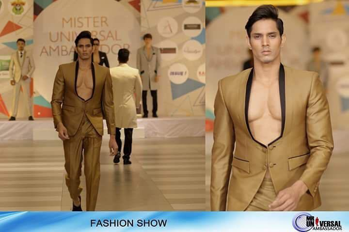Rohit Jakhar, Mister Universal Ambassador Asia 2017 while walking down the runway during the fashion show segment of Mister Universal Ambassador 2017.