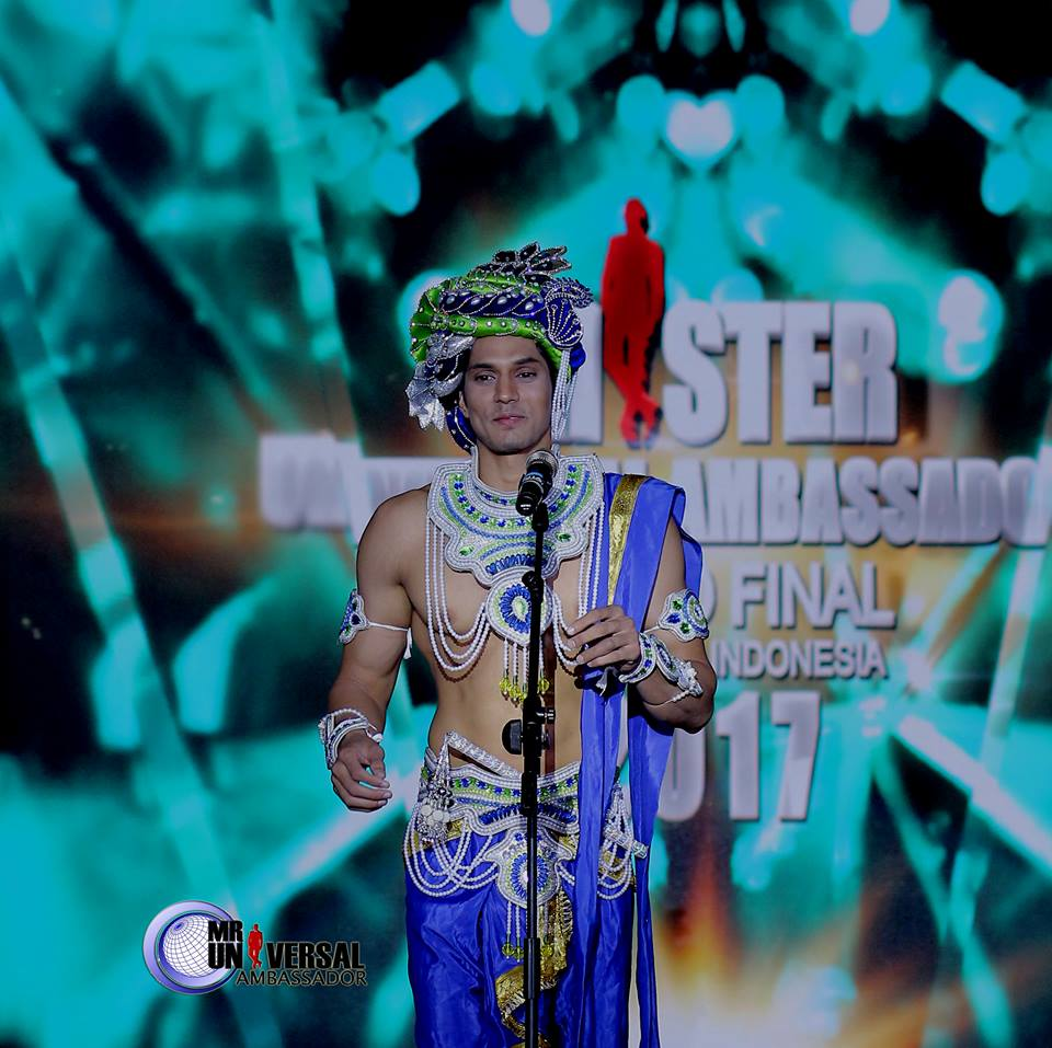 Rohit Jakhar's during the introduction segment of Mister Universal Ambassador 2017.