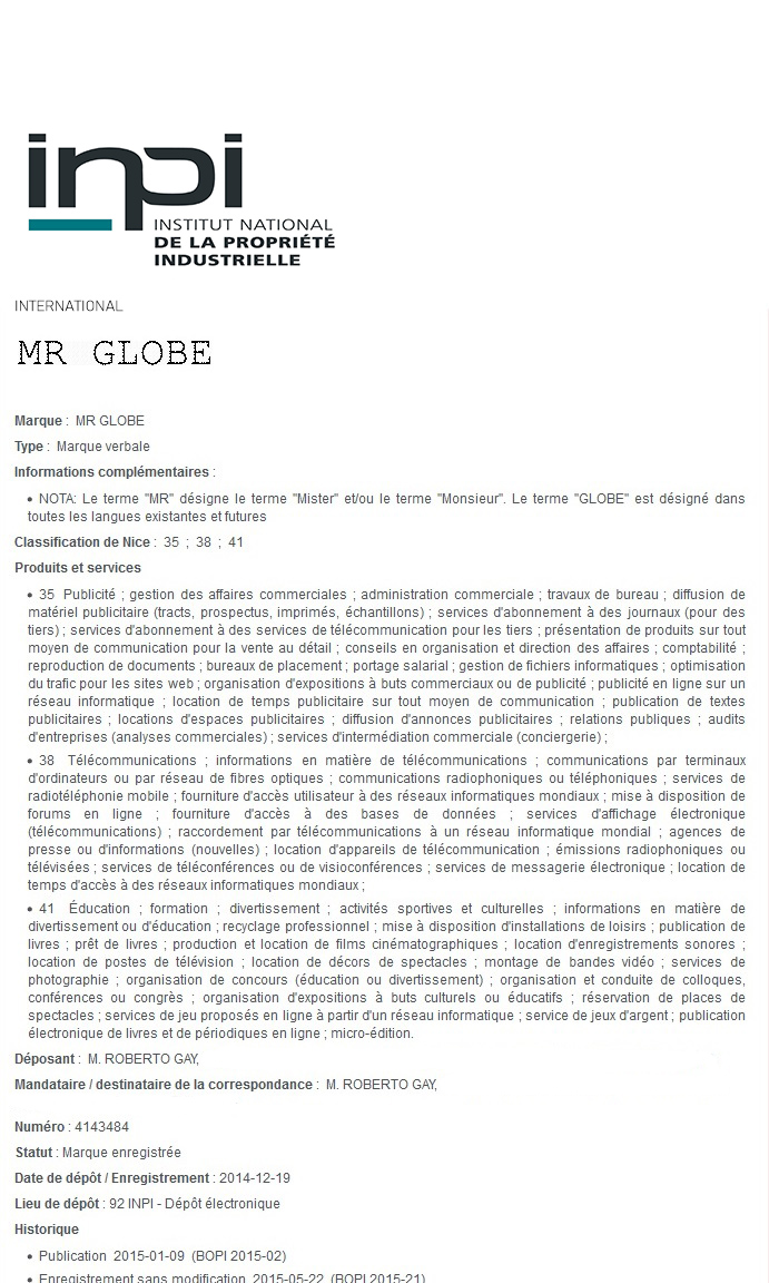 Certificate Mr Globe1