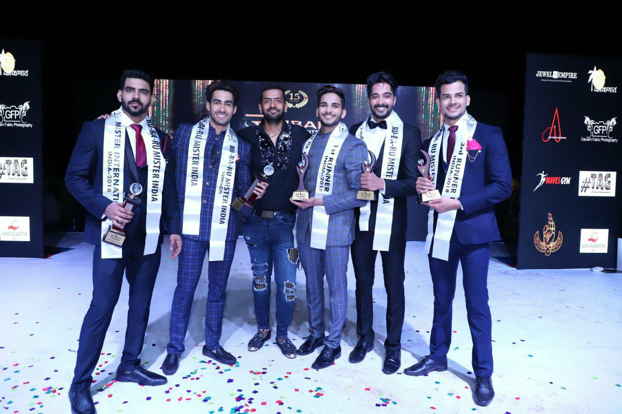 (From left to right) Balaji Murugadoss (Audi Goa Rubaru Mr India International 2018); Suraj Dahiya (Audi Goa Rubaru Mr India 2018); Pankaj Kharbanda (Vice President of Rubaru Group); Dilip Patel (Audi Goa Rubaru Mr India 2018 - 1st Runner up); Kamlesh Sonlanki (Audi Goa Rubaru Mr India 2018 - 2nd Runner up) and Gaurav Sharma (Audi Goa Rubaru Mr India 2018 - 3rd Runner up)