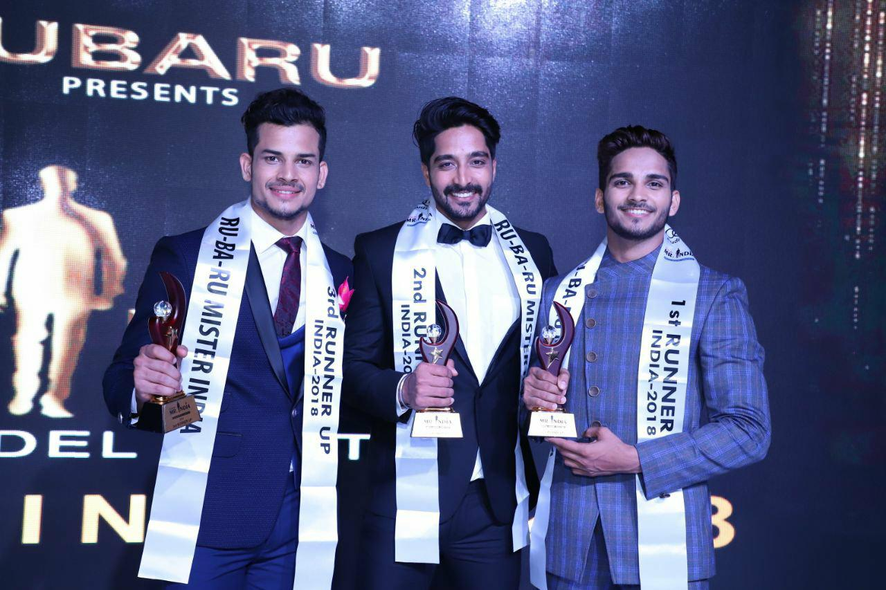 Audi Goa Rubaru Mr India 2018 Runners up. (From left to right) Gaurav Sharma (Audi Goa Rubaru Mr India 2018 - 3rd Runner up); Kamlesh Solanki (Audi Goa Rubaru Mr India 2018 - 2nd Runner up) and Dilip Patel (Audi Goa Rubaru Mr India 2018 -1st Runner up) .