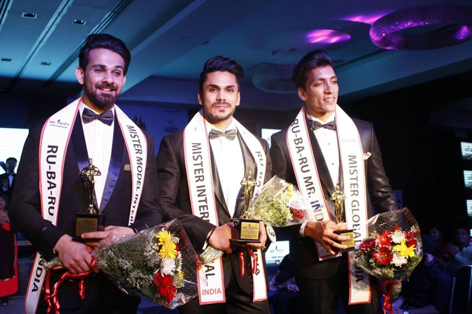 Rubaru Mister India 2016 titlholders. (From left to right) Anurag Fageriya, Mudit Malhotra and Prateek Baid.