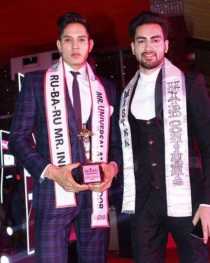 Model, Rubaru Mister India 2017 and Mister Universal Ambassador Asia 2017, Rohit Jakhar with model, engineer, Rubaru Mister India United Continents 2016 and the first Indian to win Mister United Continents contest, Mohit Singh.