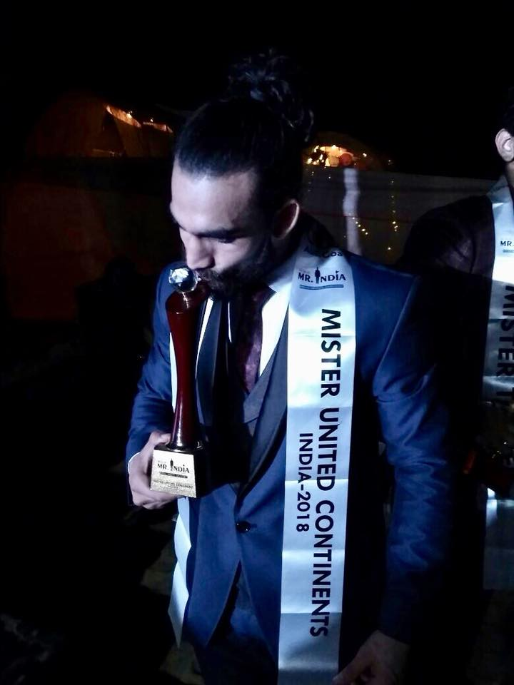 Pardeep Kharera after winning the Audi Goa Rubaru Mr India United Continents 2018 title.