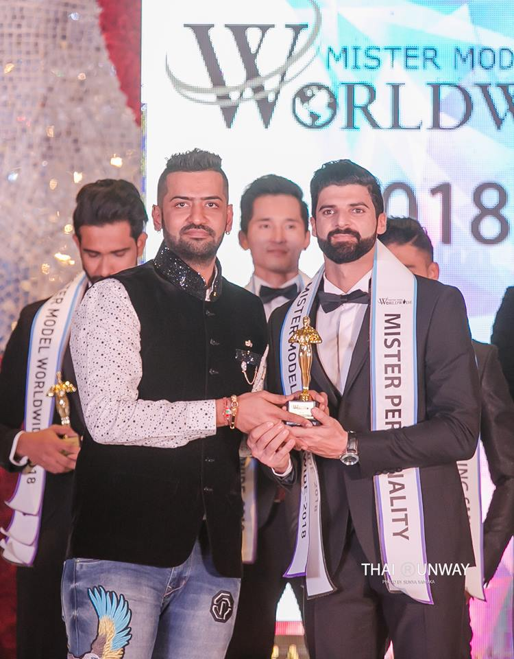 Mr Lebanon, Mhamad Chami while receiving Best Personality award at Mister Model Worldwide 2018 contest. Picture by Thai Runway / Sunya Yamaka.
