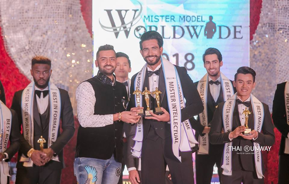 Mr Sri Lanka, Sajith Perera while receiving the Mister Intellectual award at Mister Model Worldwide 2018 competition. Picture by Sunya Yamaka.