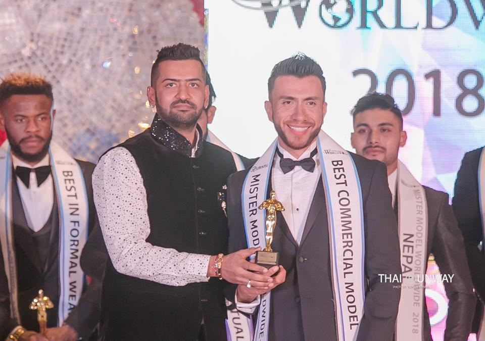 Mr Bolivia, Hugo Leigue while receiving the Best Commercial Model award at Mister Model Worldwide 2018 contest. Picture by Sunya Yamaka.