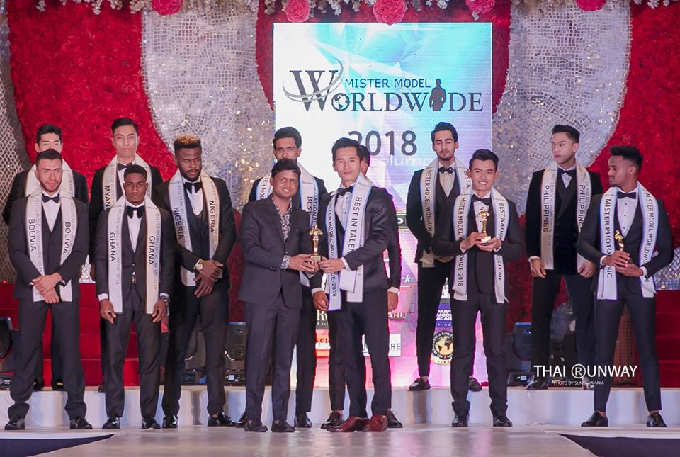 Mr Tibet, Tsering Chomphel while receiving the Best in Talent award at Mister Model Worldwide 2018 competition. Picture by Sunya Yamaka.