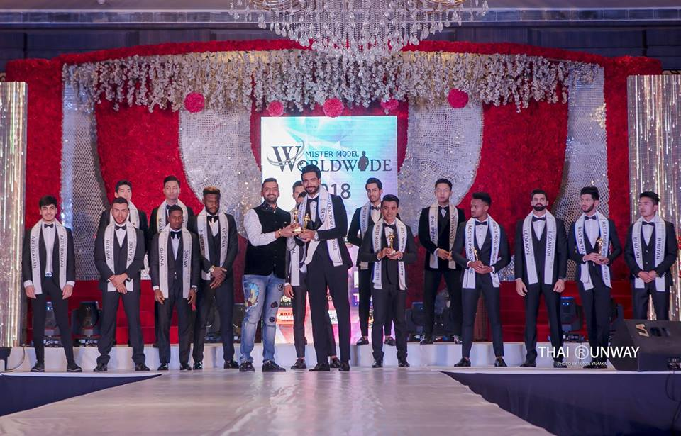 Mr Sri Lanka, Sajith Perera while receiving the Best in Talent (First Runner Up) award at Mister Model Worldwide 2018 competition. Picture by Sunya Yamaka.