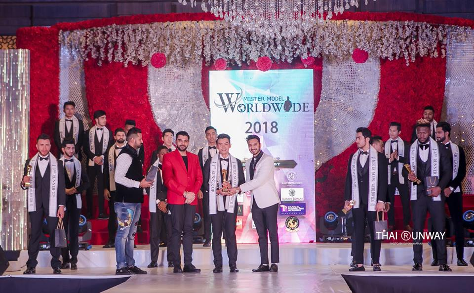 Mr Thailand, Yutthakon Buddeesee while receiving first runner up award at Mister Model Worldwide 2018 contest.  Picture by Thai Runway / Sunya