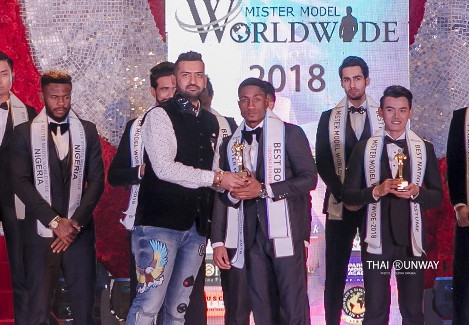 Mr Ghana, Yoni Ahafia while receiving Best Body (Second Runner-up) award at Mister Model Worldwide 2018 contest. Picture by Thai Runway / Sunya Yamaka.