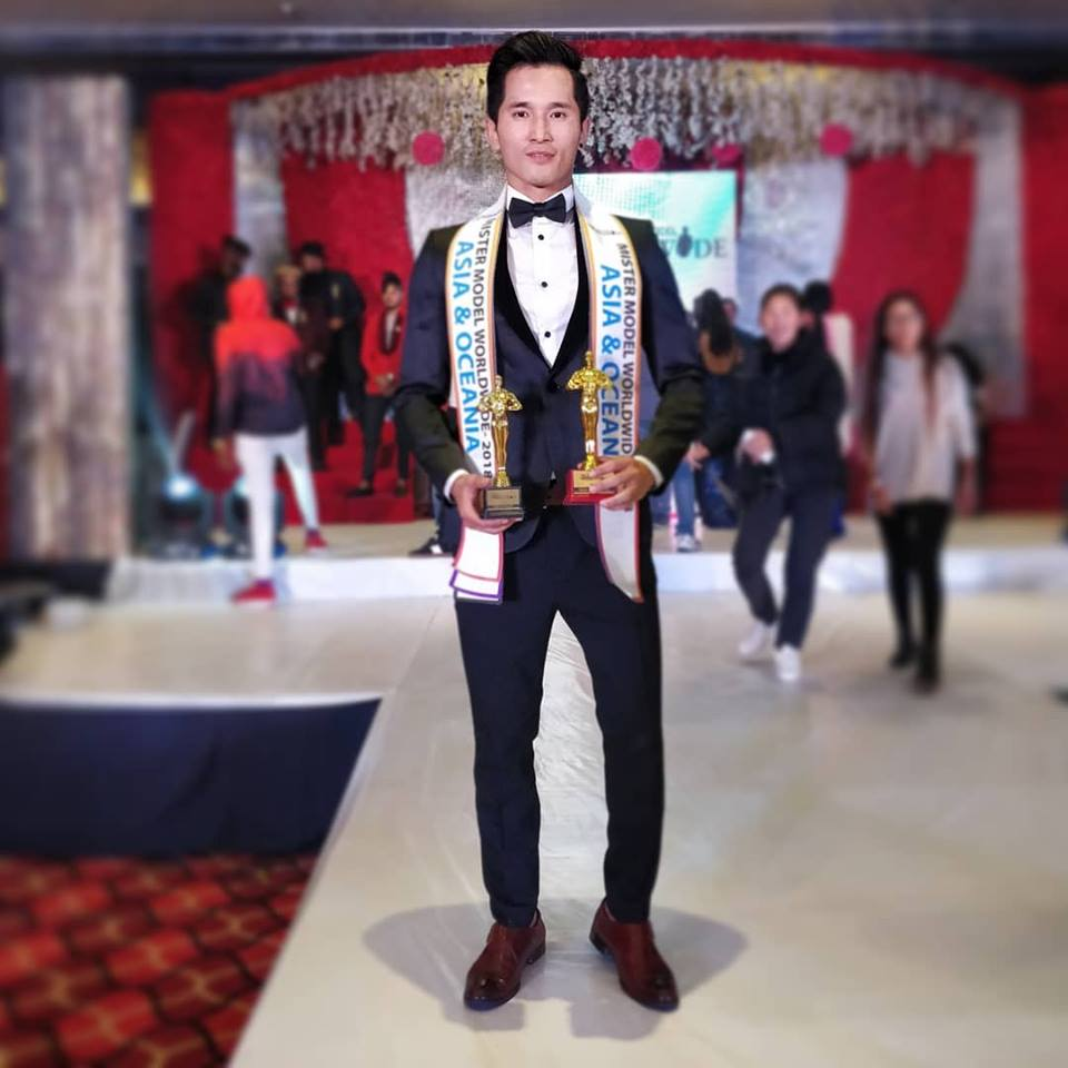 Mr Tibet, Tsering Chomphel  after winning the continental winner's award of Mister Model Worldwide Asia and Oceania at Mister Model Worldwide 2018 competition. Picture by Sunya Yamaka.