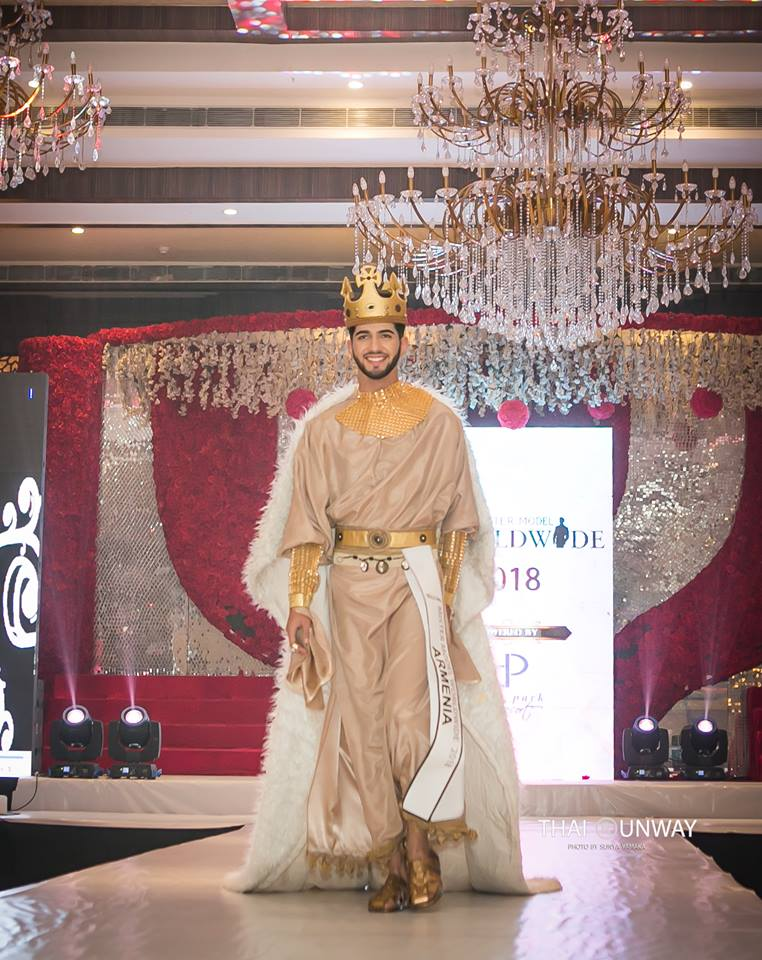 Edik Karapetyan while walking down the runway during the national costume presentation segment of the Mister Model Worldwide 2018 competition.  Picture by Sunya Yamaka.