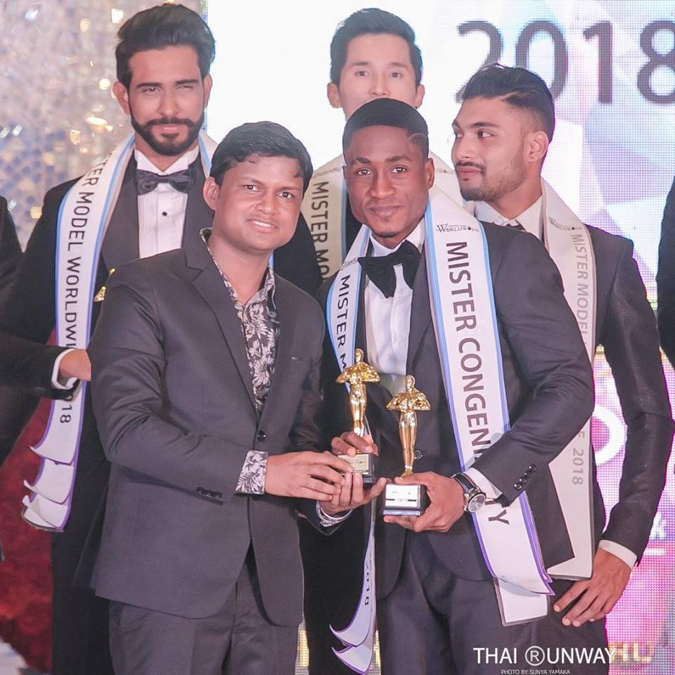 Mr Ghana, Yoni Ahafia while receiving Mr Congeniality award at Mister Model Worldwide 2018 contest. Picture by Thai Runway / Sunya Yamaka.