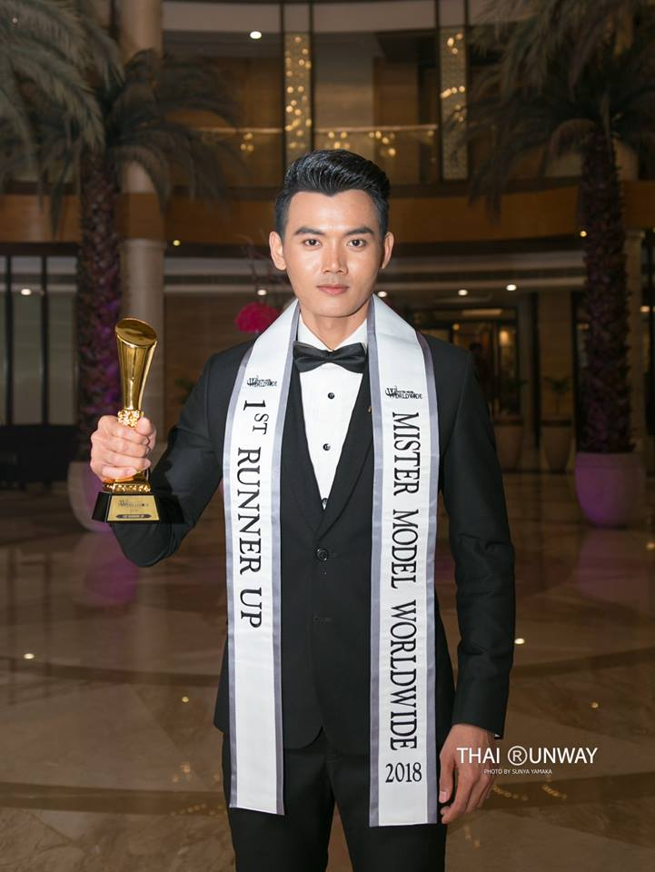 Mr Thailand, Yutthakon Buddeesee after winning the first  runner up title  and Best National Costume award at Mister Model Worldwide 2018 competition.  Picture by Thai Runway / Sunya Yamaka.