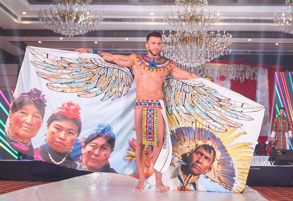 Mr Bolivia, Hugo Leigue while walking down the runway during National Costume presentation show of Mister Model Worldwide 2018 contest. Picture by Sunya Yamaka.