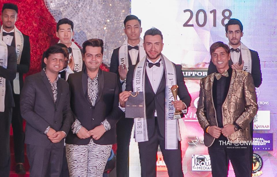 Mr Bolivia, Hugo Leigue while receiving the third runner up award at Mister Model Worldwide 2018 contest. Picture by Sunya Yamaka.