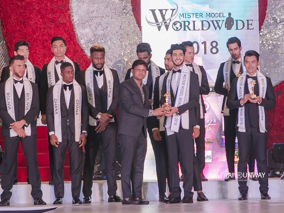 Mr Armenia, Edik Karapetyan while receiving the Best in Talent – Second Runner Up award at the Mister Model Worldwide 2018 competition.  Picture by Sunya Yamaka.