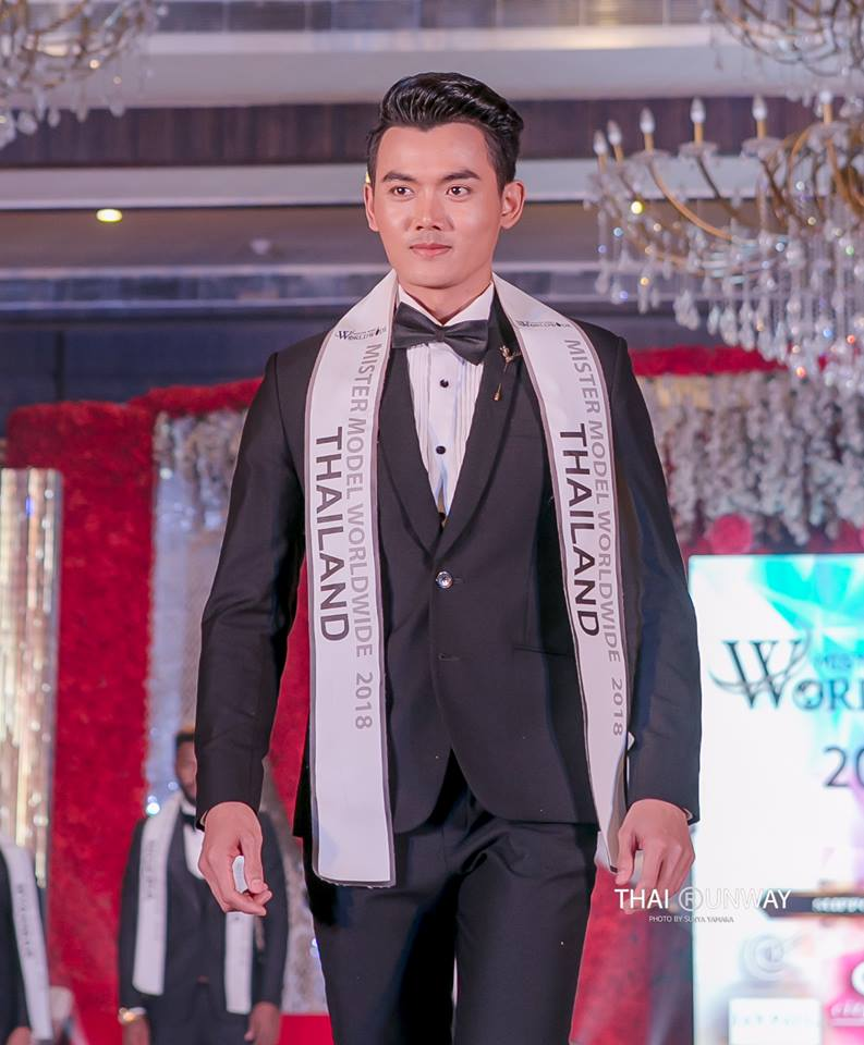 Mr Thailand, Yutthakon Buddeesee while walking down the runway at Mister Model Worldwide 2018 contest.  Picture by Thai Runway / Sunya Yamaka.