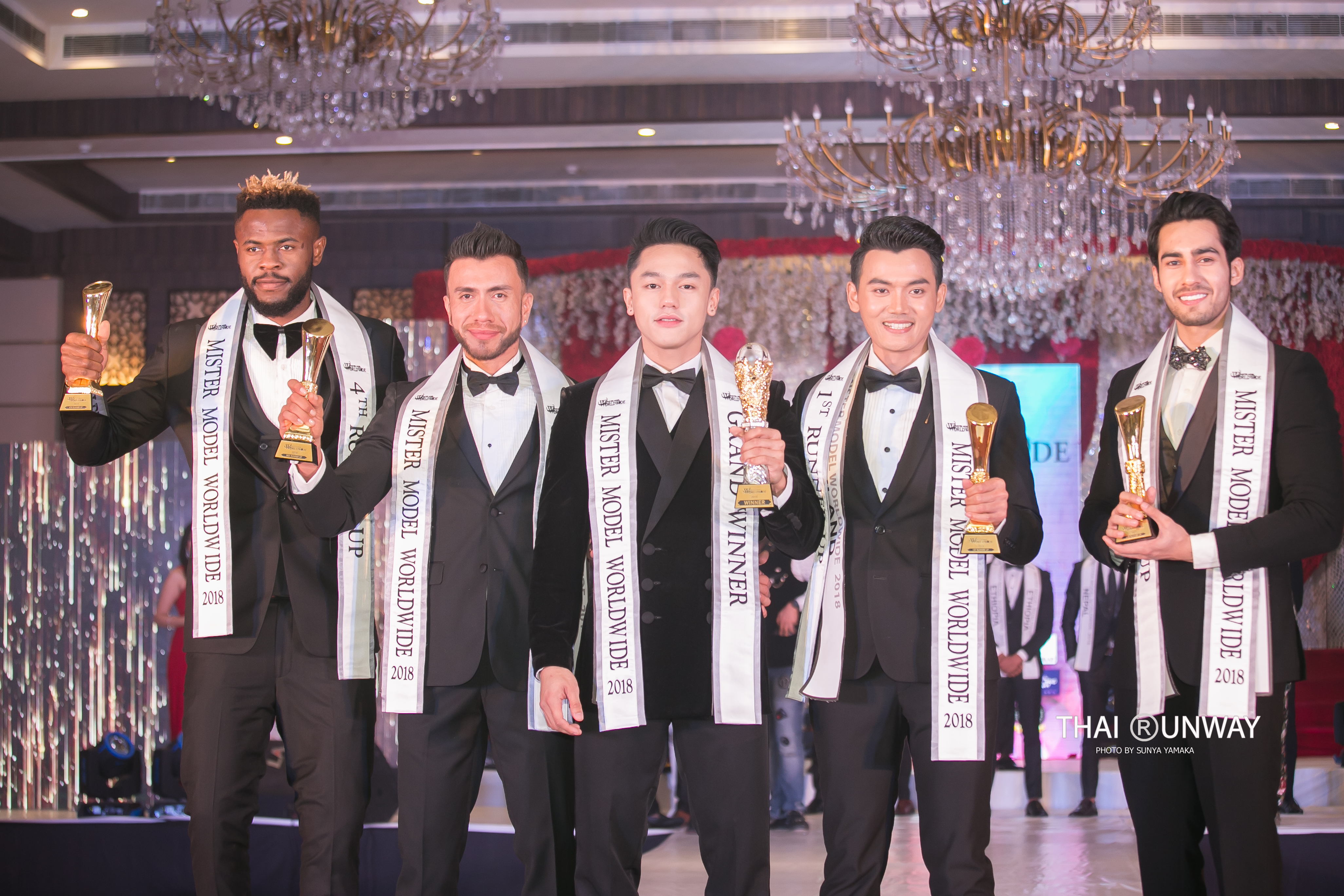 Mister Model Worldwide 2018 Top 5 titleholders. (From left to right) Ogburie Ebuka Pascal, 4th Runner Up from Nigeria; Hugo L Mendez, 3rd Runner Up from Bolivia; Carlo Pasion, Winner from Philippines; Yutthakon Buddeesee, 1st Runner Up from Thailand and Suraj Dahiya, 2nd Runner Up from India. Picture by Thai Runway / Sunya Yamaka