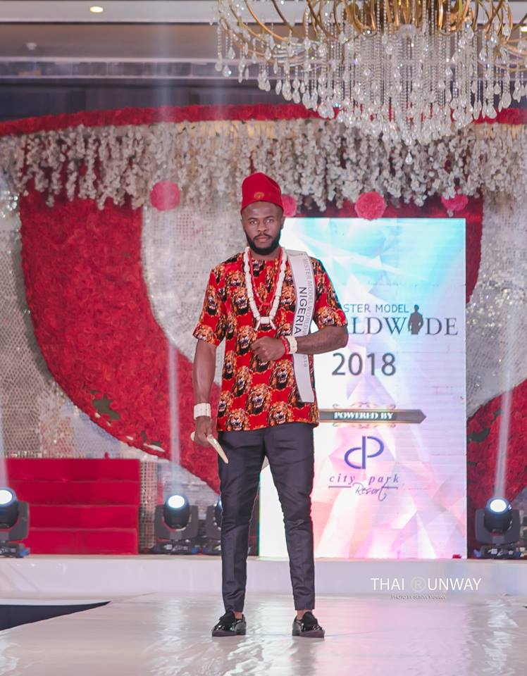 Ogburie Pascal while walking down the ramp during the national costume presentation show of Mister Model Worldwide 2018 competition.  Picture by Thai Runway / Sunya Yamaka.