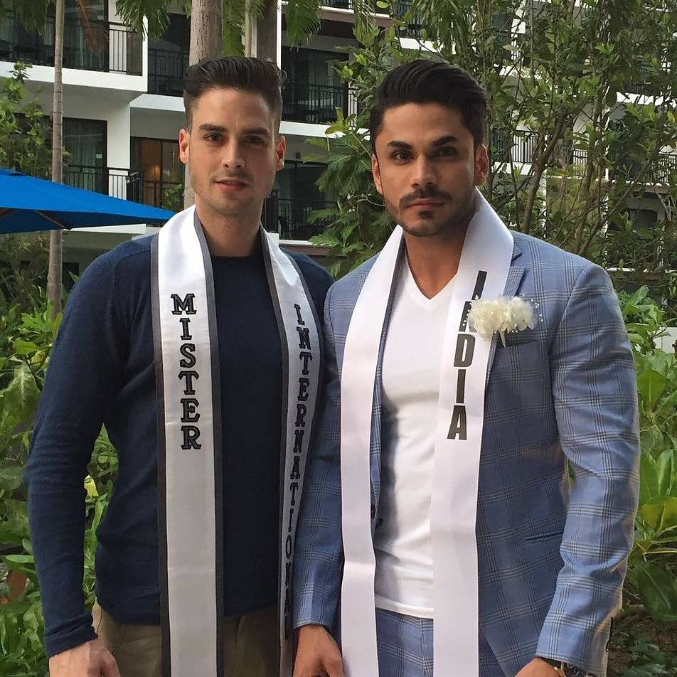 Often cited as the most handsome Mister India winner, Mudit Malhotra with Mister International 2015, Pedro Mendes from Switzerland.