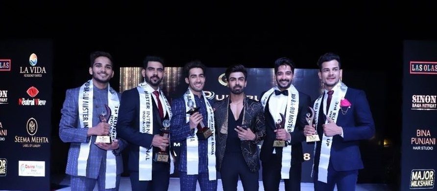Mister India 2018 titleholders with actor, model, reality TV celebrity and Mister India 2016, Akash Choudhary.