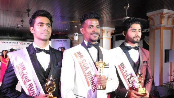 Mr Goa 2018 titleholders. (From left to right) Tauseef Gracias (Mr Goa 2018 – 2nd Runner-up), Rahul Rametria (Mr Goa 2018) and Abrar Naik (Mr Goa 2018 – 1st Runner-up).