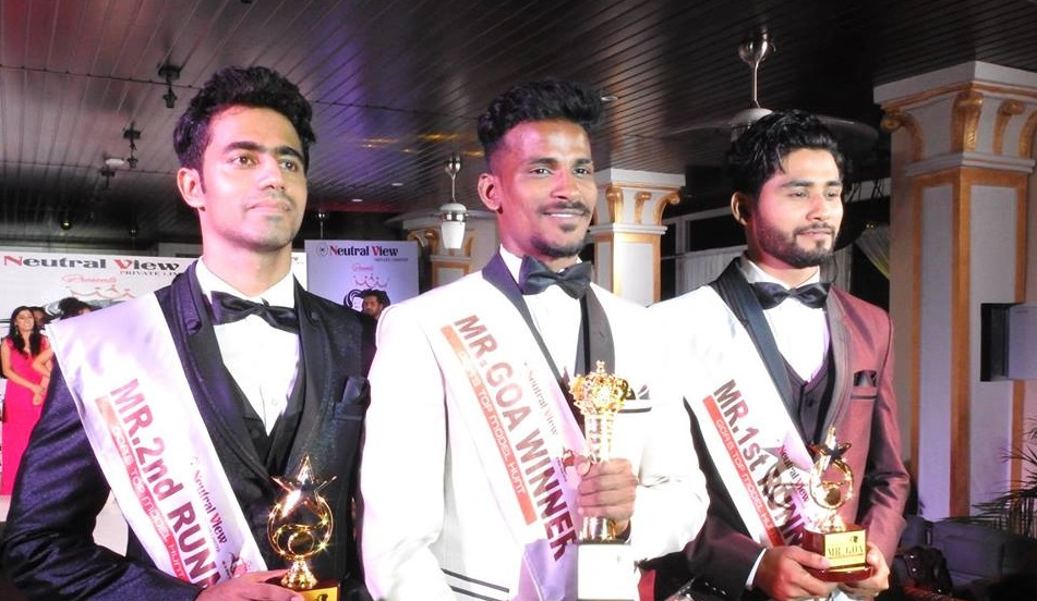 Mr Goa 2018 titleholders. (From left to right) Tauseef Gracias (Mr Goa 2018 – 2nd Runner-up), Rahul Rametria (Mr Goa 2018) and Abrar Naik (Mr Goa 2018 – 1st Runner-up).