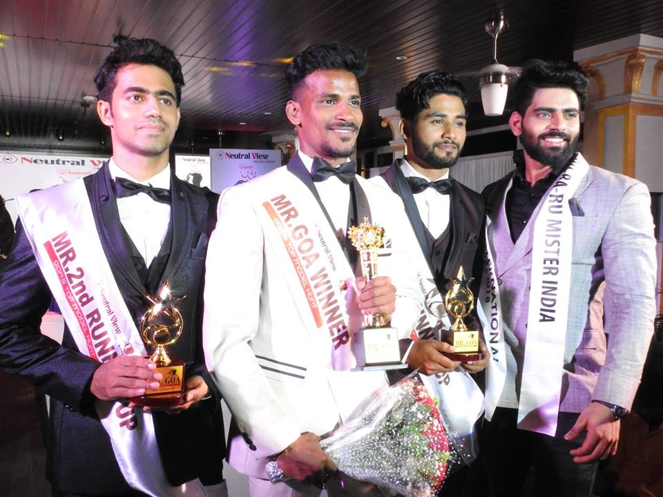 Mr Goa 2018 titleholders with model, actor and Rubaru Mister India International 2018, Balaji Murugadoss. (From left to right) Tauseef Gracias (Mr Goa 2018 – 2nd Runner-up), Rahul Rametria (Mr Goa 2018), Abrar Naik (Mr Goa 2018 – 1st Runner-up) and Balaji Murugadoss (Rubaru Mister India International 2018).