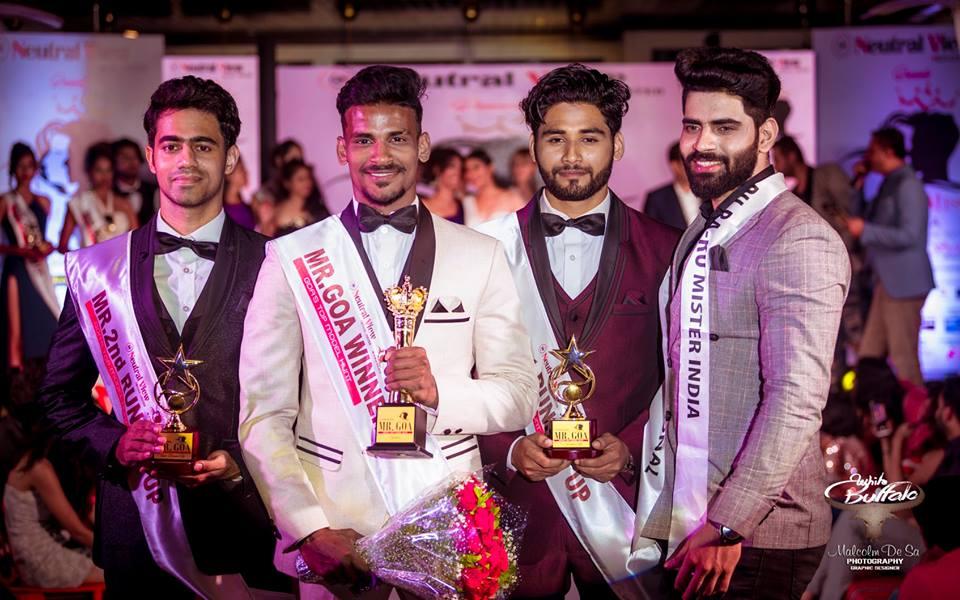 Mister Goa 2018 titleholders, Tauseef Gracias (Mister Goa 2018 – 2nd Runner-up), Rahul Rametri (Mister Goa 2018 – Winner) and Abrar Naik (Mister Goa 2018 – 1st Runner-up) with Mister India 2018, Balaji Murugadoss from Tamil Nadu.