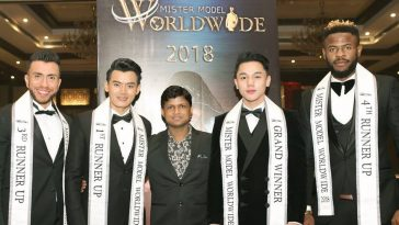 Rubaru Group's founder and president, Sandeep Kumar with Mister Model Worldwide 2018 titleholders.