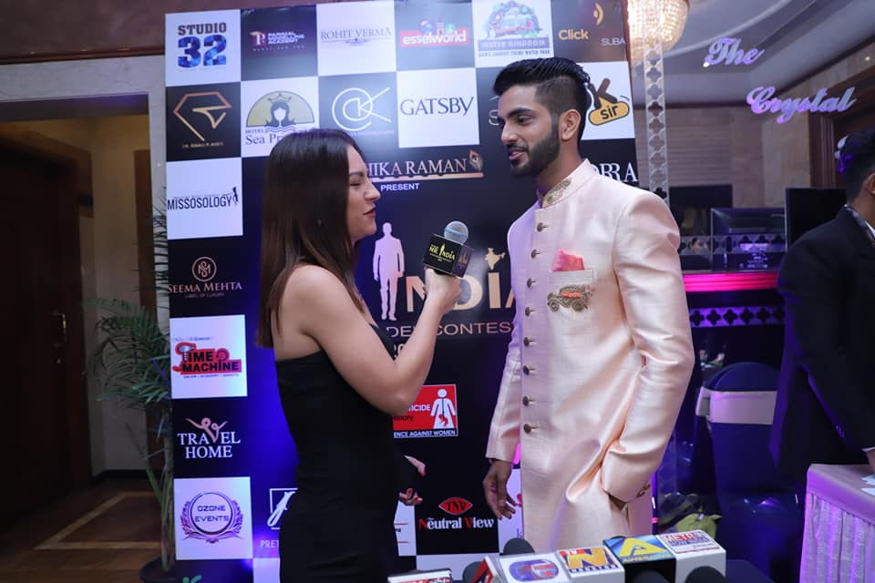 Sahil while being interviewed during Rubaru Mr India 2019 pageant in Mumbai.